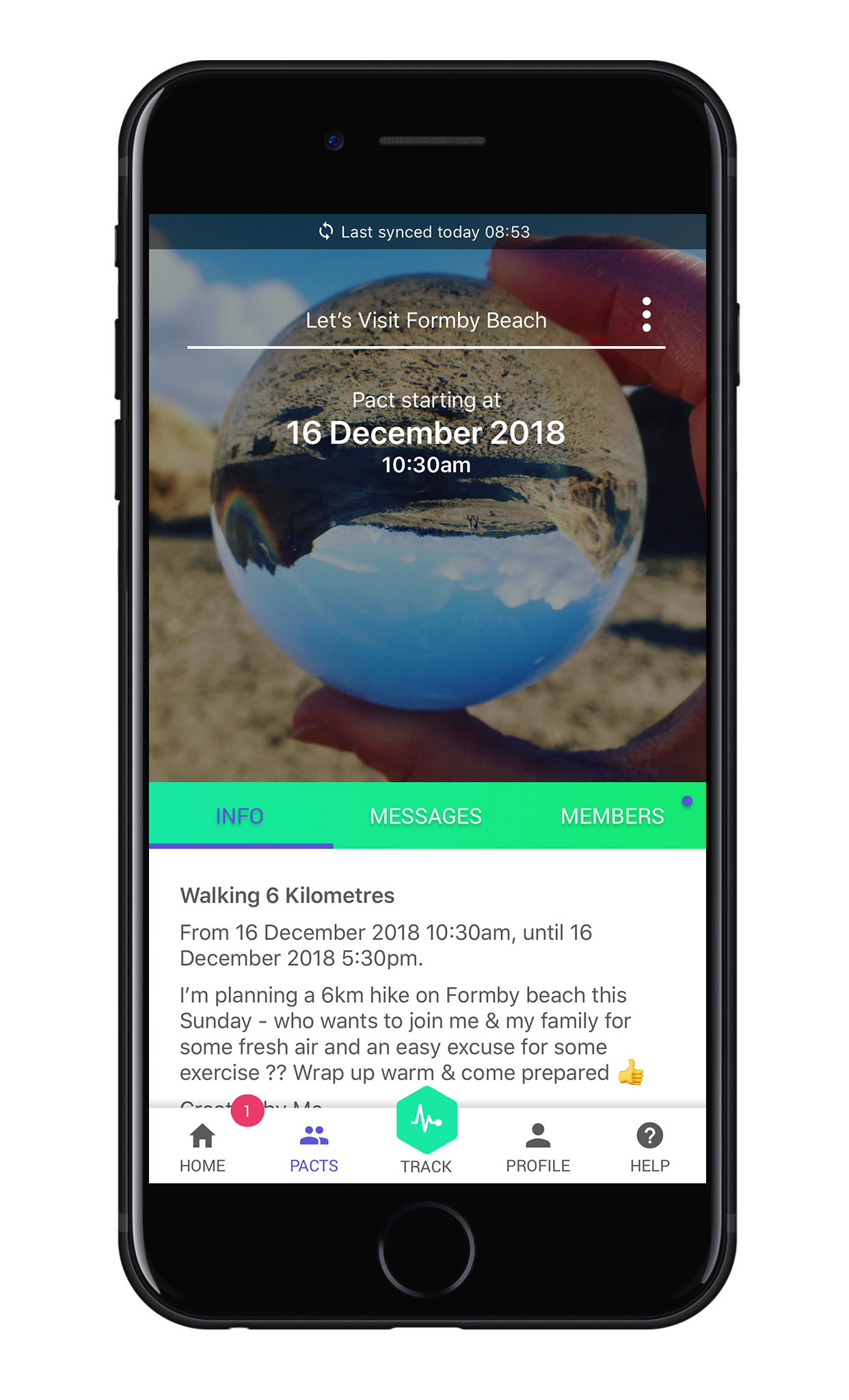 Share challenges with friends with Pactive app